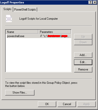 Logoff script group policy